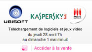 Vente privée Ubisoft  - Kaspersky - Micro Application