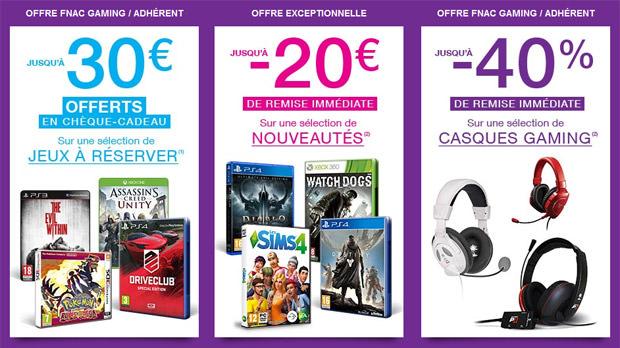 Adhérents et Fnac Gaming : Jusqu'à 30€ en chèques cadeaux pour la réservation