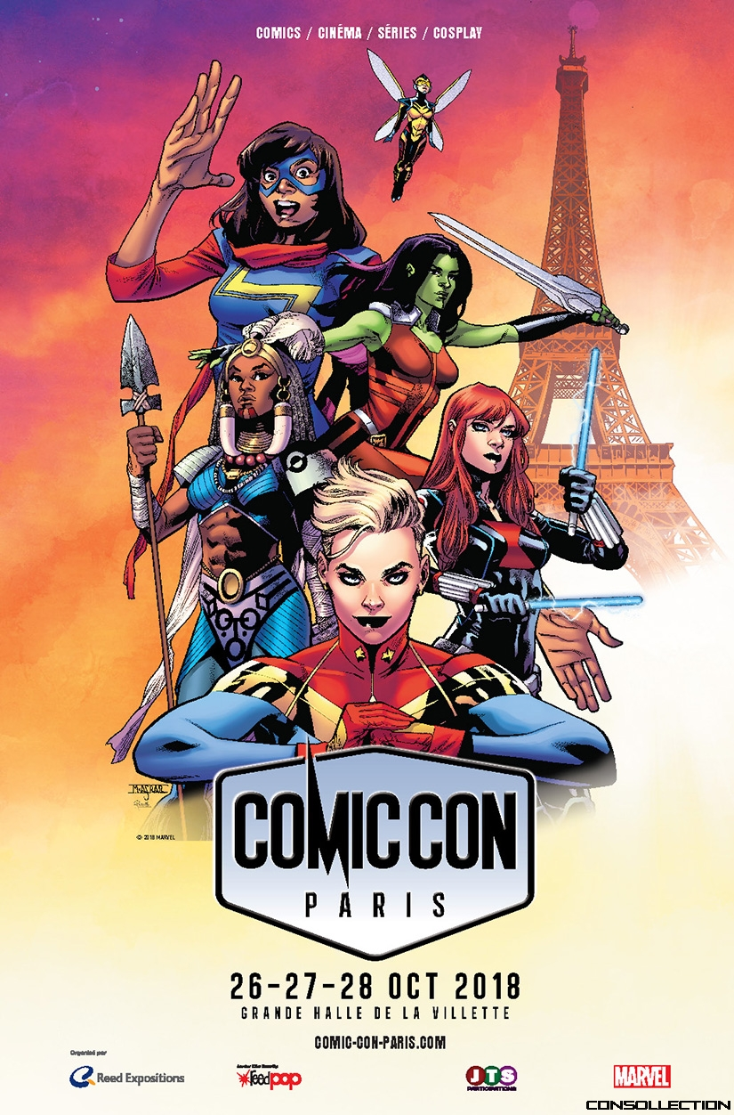 Affiche 100% féminine Comic Con Paris 2018 avec Captain Marvel, Ms Marvel, Gamora, Wasp, Black Widow et Shuri.