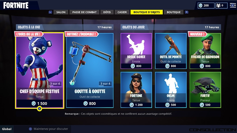 Boutique d'objets Fortnite