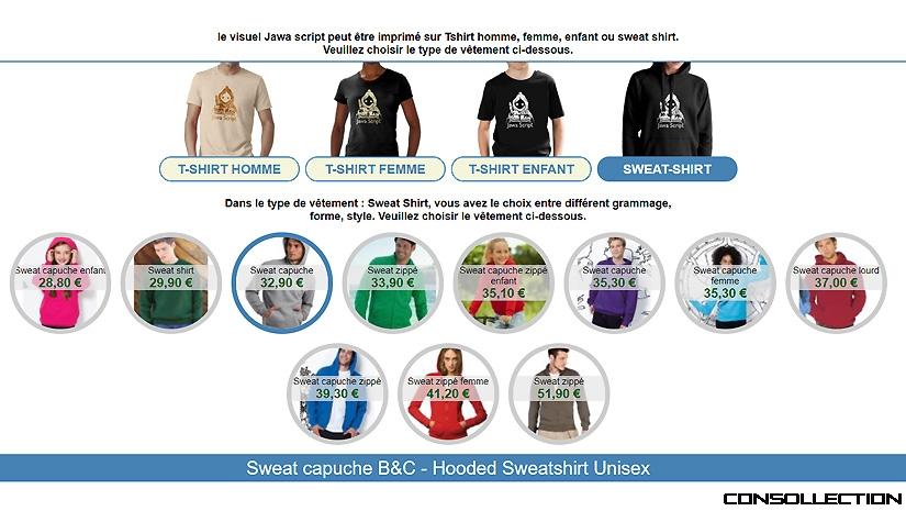 Choix du type de sweat-shirt