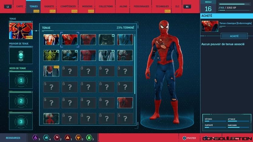 Les costumes dans Marvel´s Spider-Man Remastered