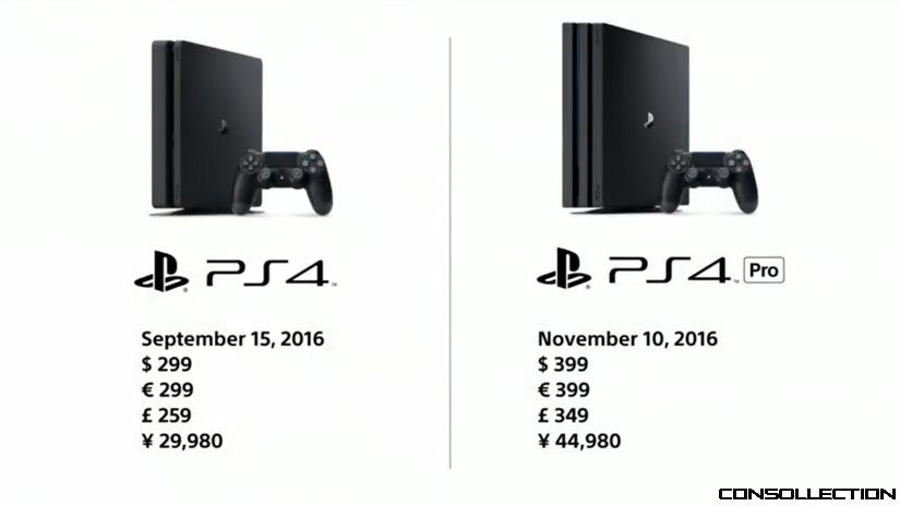 Les prix des la PlayStation Pro et PlayStation Slim