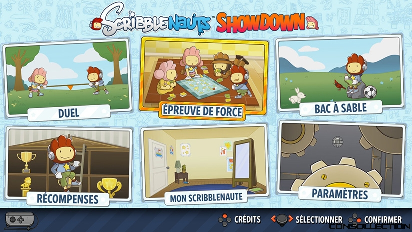 Le menu du jeu Scribblenauts: Showdown